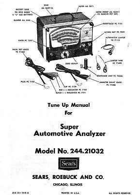 Sears Penske Automotive Analyzer Owners Manual Model 244