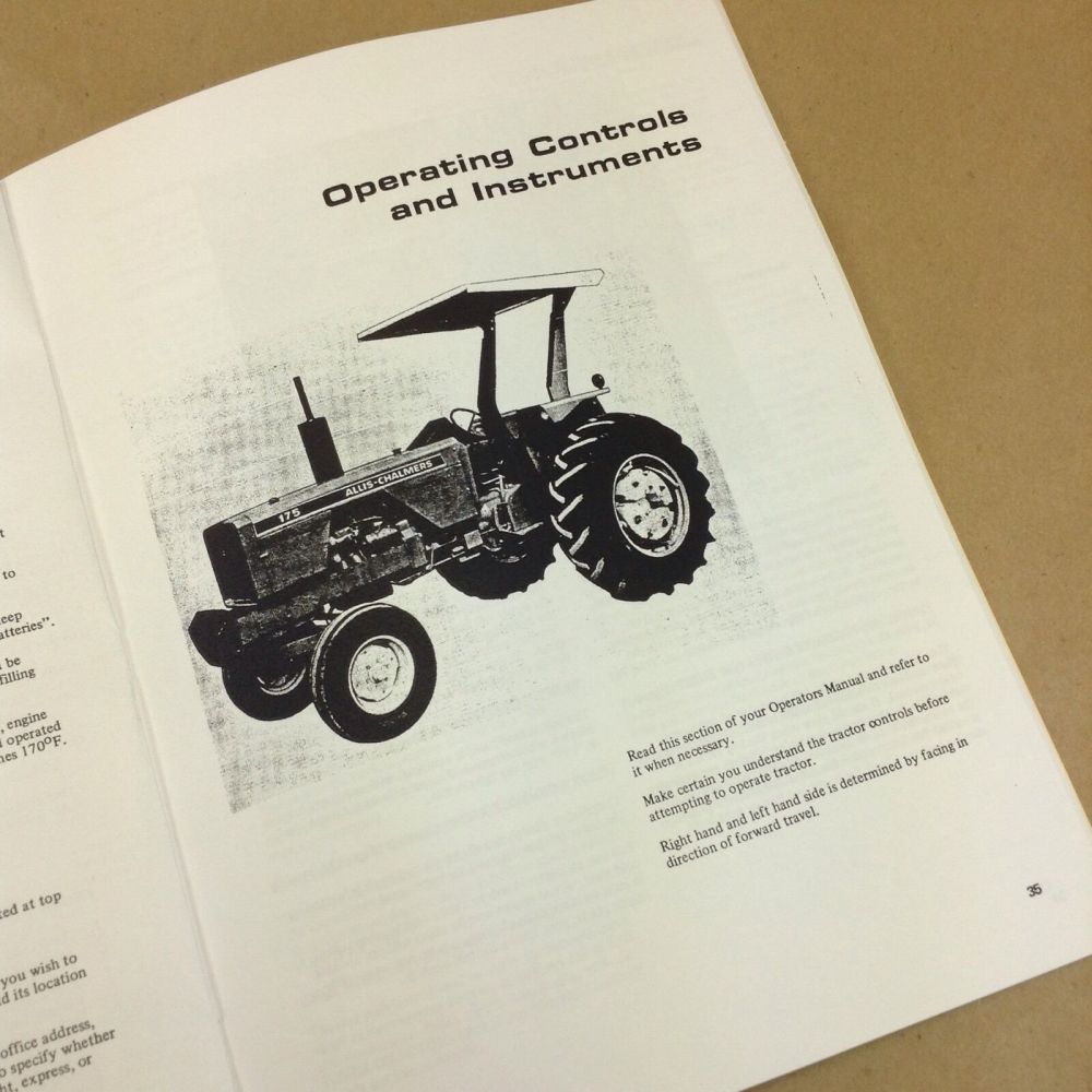 medium resolution of allis chalmers 175 tractor operators owners manual gas gasoline diesel ebay