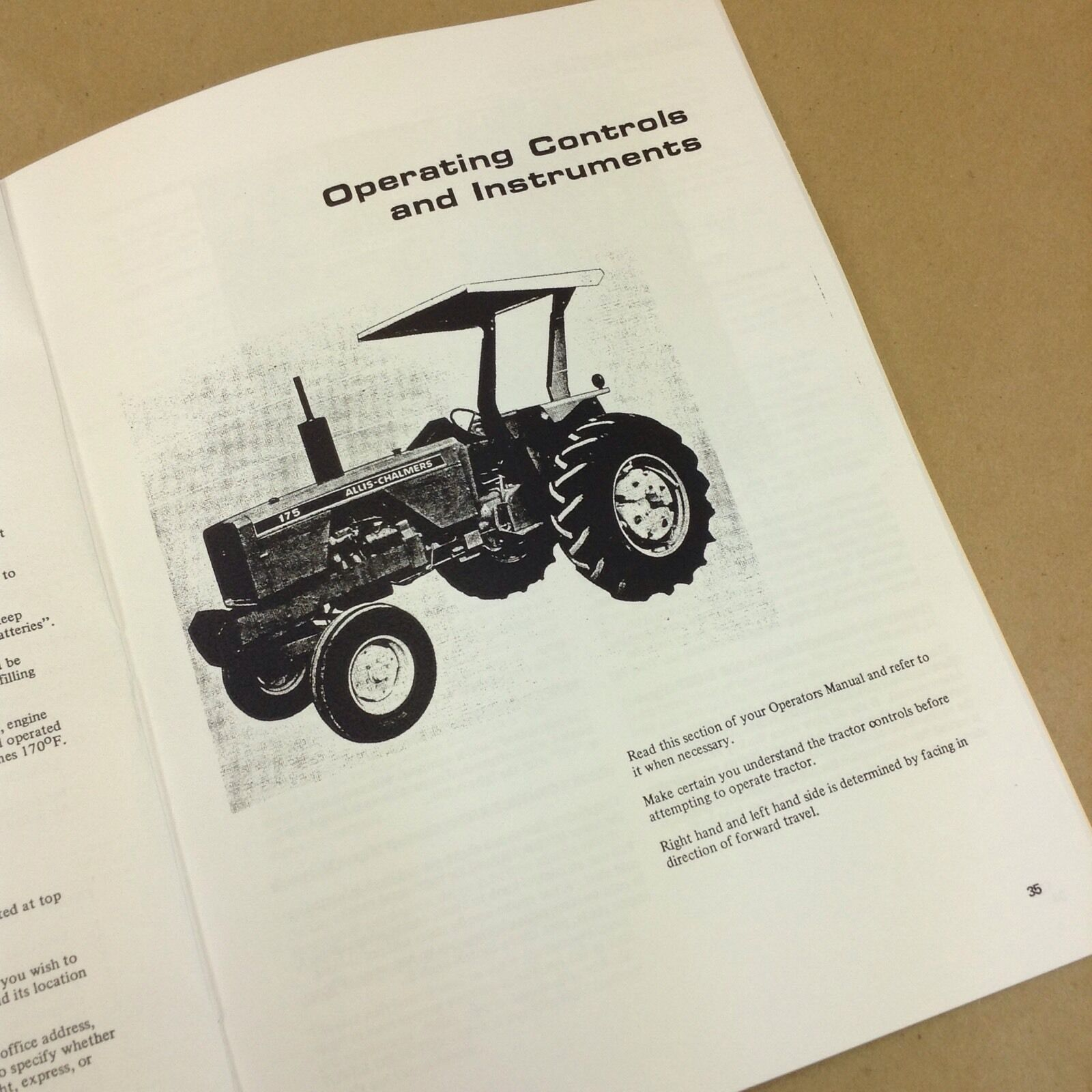 hight resolution of allis chalmers 175 tractor operators owners manual gas gasoline diesel ebay