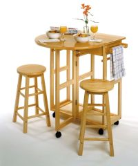 Small Dining Table 3-Piece Drop Leaf Counter Bar Stool ...