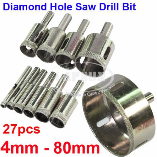 tools workshop equipment 27pc set 4 80mm diamond hole saw ceramic glass marble tile drill bit cutter kit power tools