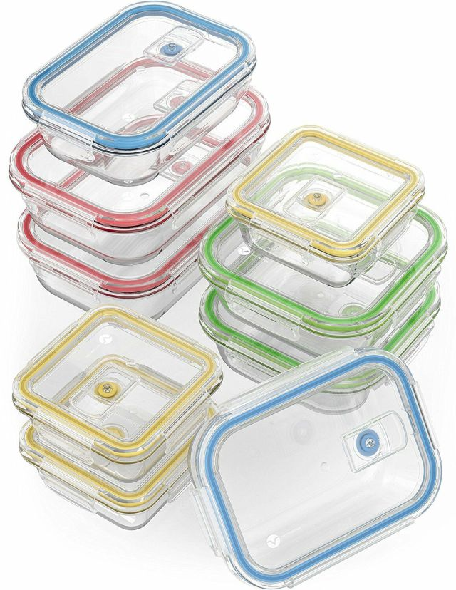 18 Piece Glass Food Storage Container Set w/ Locking Lids Airtight Oven Freezer 2