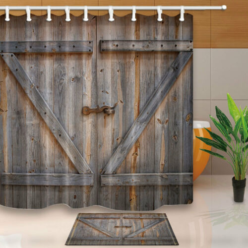 rustic wooden barn door shower curtain bedroom decor waterproof fabric 12hooks shower bathtub accessories uniforce shower curtains