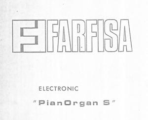 Farfisa PIANORGAN S Service Manual Repair Diagrams