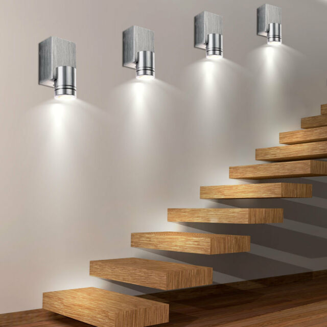 wall lamps for living room the boynton beach menu 4er set led spotlight aluminium lights staircase of 4 alu spots brushed new