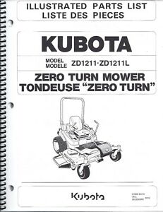 Kubota ZD1211 ZD1211L Zero Turn Mower Illustrated Parts