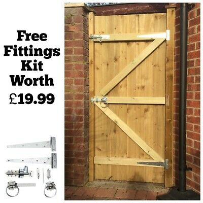 Made To Measure Wooden Garden Gate Gates Featheredge Treated 1 8m High Ebay