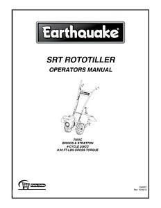 Earthquake SRT ROTOTILLER Tiller Operator Instruction