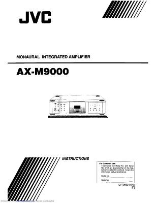 JVC AX-M9000 Amplifier Owners Instruction Manual Reprint