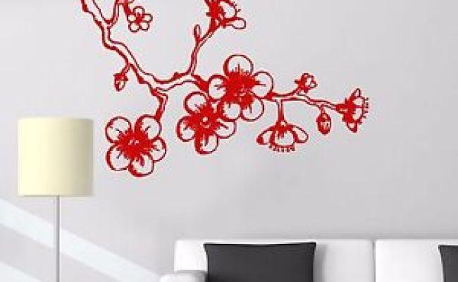 Vinyl Wall Decal Sakura Cherry Japanese Decor Asian