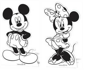 Mickey Mouse & Minnie Mouse CARDBOARD CUTOUTS paint