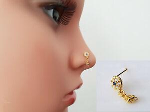 925 Silber Nasenpiercing Nasenstecker Nasenring Stecker Piercing Blume Vergoldet