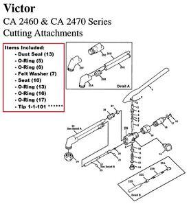 Victor CA2460 & CA2470 Cutting Torch Rebuild/Repair Parts