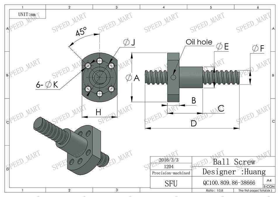 SFU1605 Ball Screw length 200mm With Single Ball nut for