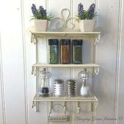 Kitchen Spice Rack Corner Shelf Shabby Chic Metal Wall Unit Hooks Storage Image Is Loading