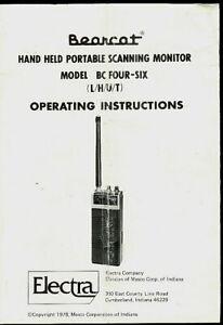Bearcat BC Four-Six L/H/U/T Scanner Radio Orig Factory