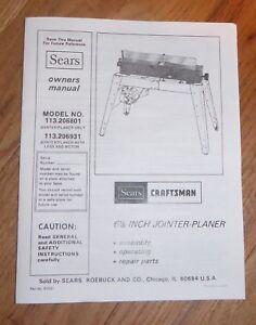 Craftsman 6 Inch Jointer Manual