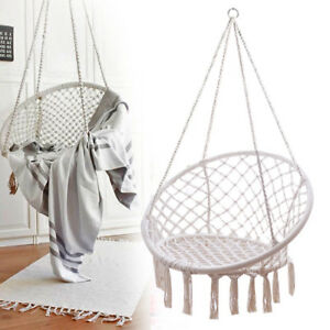 rope chair swing bamboo folding hammock home outdoor relaxing hanging cotton image is loading