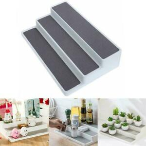 details zu non slip 3 tier spice rack step shelf organizer kitchen pantry cupboards k6w5