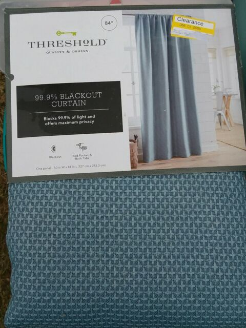 threshold small check blackout window curtain panels blue one pair 84 x 50