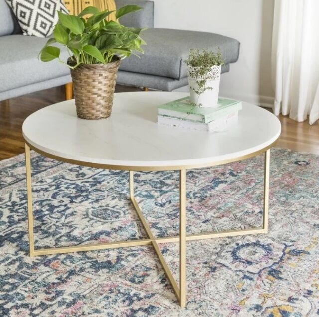 marble living room furniture decor pictures round metal coffee table gold white glass mdf top for sale online ebay