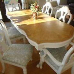 Bergere Dining Chairs Clear Office Chair Shabby Chic French Extending Oak Table And 6 Image Is Loading