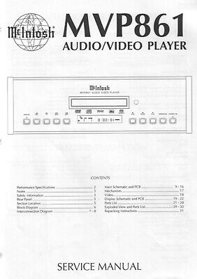 McIntosh mvp861, mvp871 Schematic Service Manual Repair