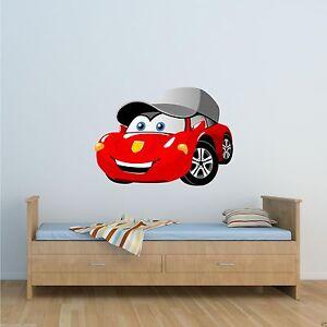 details sur couleur dessin course voiture autocollant mural garcons chambre transfert wsd215