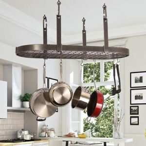 details about enclume handcrafted four point oval ceiling pot rack with 18 hooks hammered