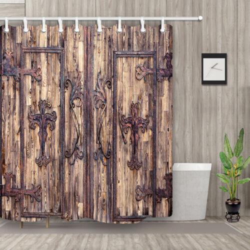rustic old wooden door decor fabric shower curtain bathroom waterproof curtains