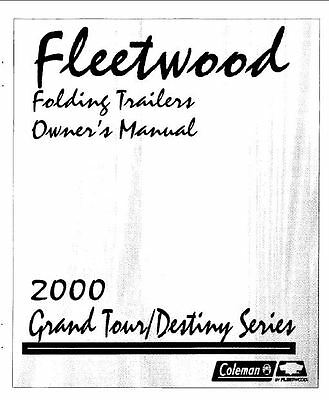 COLEMAN Popup Trailer Owners Manual-2000 Destiny Tacoma