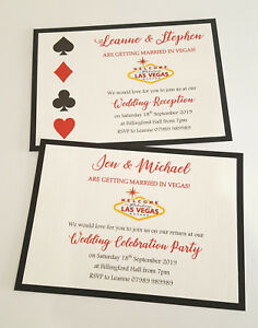Details About New 2019 Personalised Married In Las Vegas Wedding Invitations Postcard Style