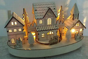 Image Is Loading Light Up Christmas Train Village Wooden Decoration Vintage