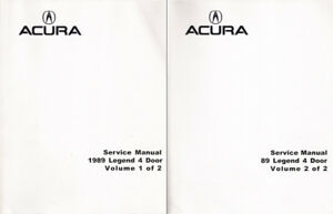 1989 Acura Legend 4 Door OEM Factory Service Manual 2 Vol