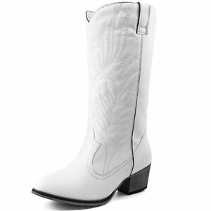Womens White KneeHigh Cowboy Boots Cowgirl Western Embroidered Cheap New Vegan  eBay