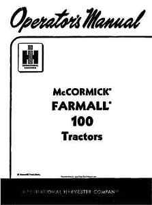 International FARMALL 100 Tractors (McCormick) Operator's