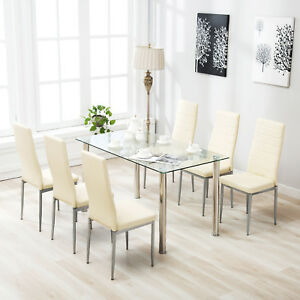 dining table set 6 chairs white modern chair 7 piece for clear glass metal kitchen room image is loading
