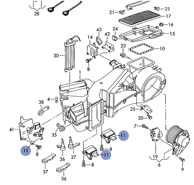 AUDI A4 A4Q S4 B5 1999-02 ACTUATOR MOTOR FOR A/C