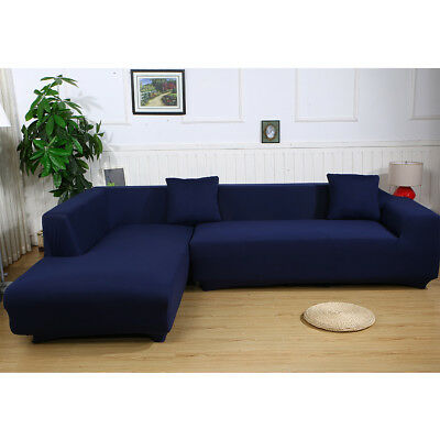 L Shape Stretch Elastic Sofa Cover Sectional Corner Couch Covers Slipcover Blue EBay