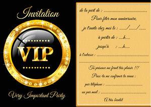 details zu 5 12 ou 14 cartes invitation anniversaire vip ref 460