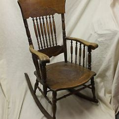 Antique Rocking Chair Leather Seat Pink Camo Lawn Oak Armed Pressed Back Rocker – Insert   Ebay