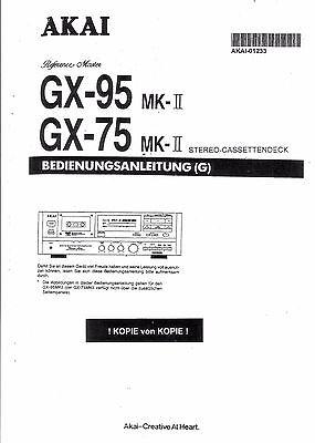 Akai Manual User Manual Owners for GX-75/95 MKII German