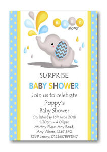 Details About 40 Personalised Surprise Boy S Baby Shower Invitations Invites Ref Bs20