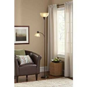 living room floor lamp pale yellow tall brown modern reading light combo home image is loading