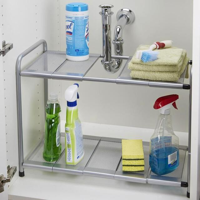 kitchen shelf unit old fashioned chair step stool rack organizer adjustable removable under sink storage tidy