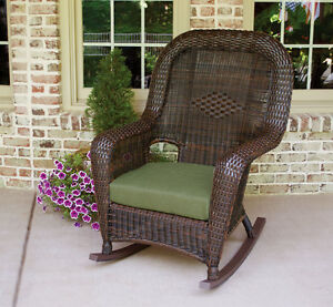 wicker rocking chairs beach chair towel clips dark brown with green cushion 10006197857 ebay image is loading