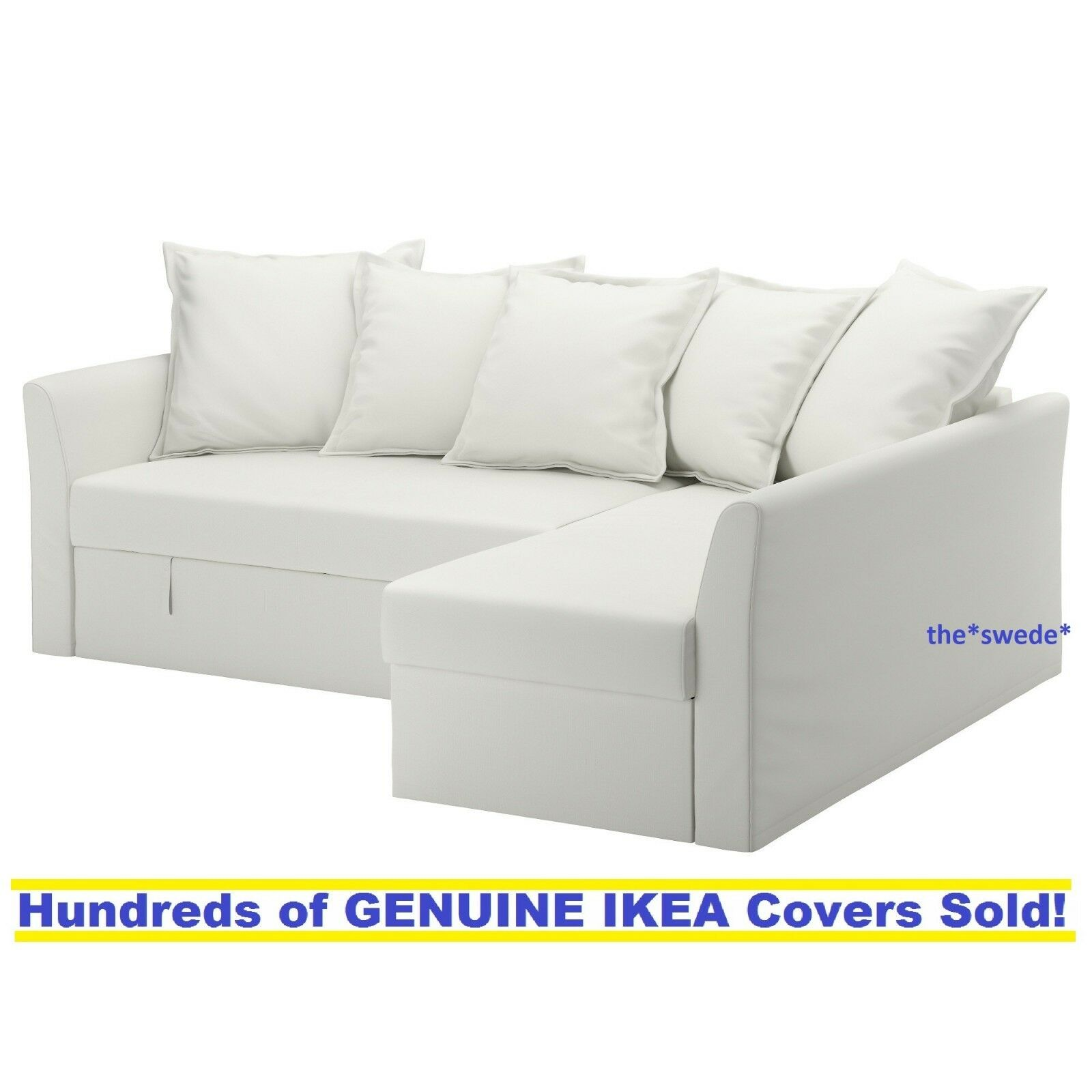 ikea holmsund corner sofa bed sectional cover slipcover ransta white new in box