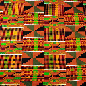 Stunning African Kente Print Cloth Wax Dyed Cotton Fabric