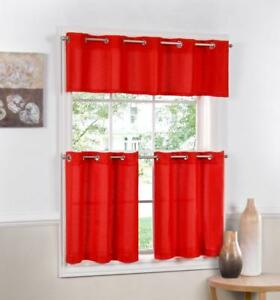 red kitchen valance copper pendant lights jackson textured solid curtain choice tiers or image is loading