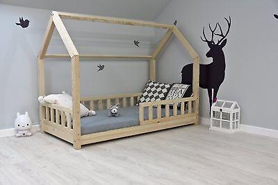 bestforkids lit cabane enfant 70x140cm 90x200cm neuf maison bois avec barriere ebay